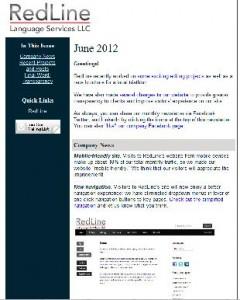 RedLine June 2012 newsletter