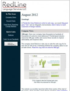 RedLine's August newsletter