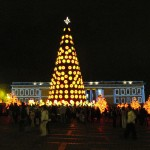 Christmas decorations in a Bogota plaza